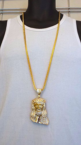 Mens Hip Hop Iced Out 14K Gold Finish Jesus Pendant W/ 36
