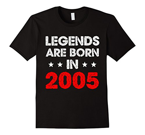Mens Legends Are Born in 2005 T-Shirt 12th Birthday Teenager Gift Small Black