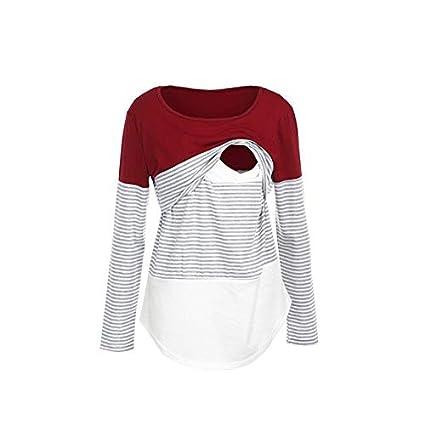 Mumustar Maternity Women Tops Nursing Breastfeeding Striped Cotton Long Sleeve T Shirt Tee Blouse Clothing