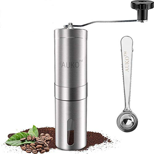 Manual Coffee Grinder Stainless Steel Coffee Bean Grinder Ceramic Conical Burr Hand Crank Mill with Spoon AUKO ()