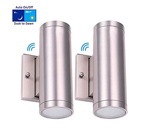 Cloudy Bay LED Outdoor Wall Lamp,Up and Down Wall Light With Dusk To Dawn Photocell,18W 3000K Warm White,Brushed Nickel,Pack of 2 ()