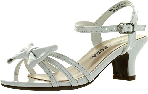 Soda Girls Girly-Ii Metallic Glitter Open Toe Bow Slingback Small Block Heel Sandals,White ()