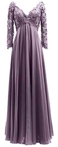 Of V Dress The Bride Long Neck Gown Mother Women Lace Sleeves Wisteria Evening Macloth zT57qnP