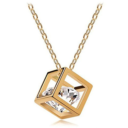 Botrong Women Chain Crystal Rhinestone Square Pendant Alloy Necklace Jewelry (Gold)