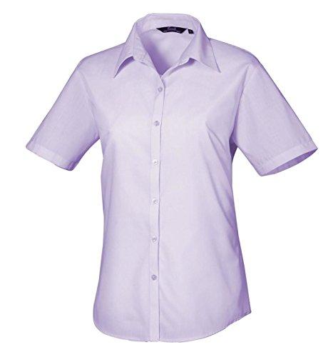 Premier popelín sábana bajera para cama de traje de neopreno para mujer de manga corta para blusa de camiseta de manga corta de visita de trabajo de oficina lila