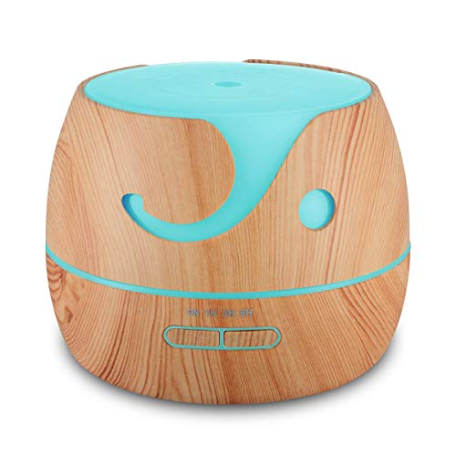 Multi-diffuser diffuser difussers Humidifier Humidifiers cooler vaporiser 400ml mini wood grain household smart essential oil yellow by Multi-diffuser