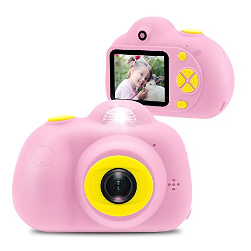 Veroyi Kids Camera 1080P Rechargeable Digital Front and Rear Selfie Camera Child Camcorder for Outdoor Play, for 4-10 Years Old Children, 16G Micro SD Card Included (Pink)