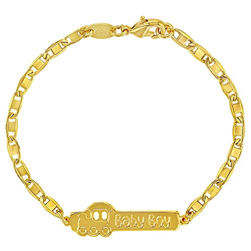 18k Gold Plated Train Baby Boy ID Bracelet for Newborns & Infants 5.5