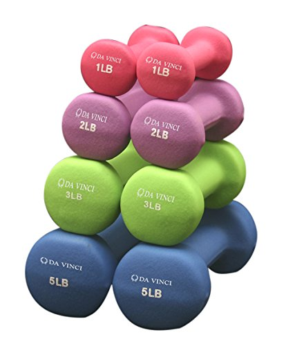 Da Vinci Pair of Neoprene Dumbbells with Non Slip Grip, Choose Your Dumbbell Weight