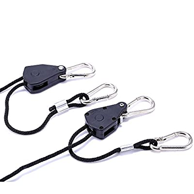iPower GLROPEMG4X2A 2 Pairs 1/4 Inch 8-Feet Long Adjustable Heavy Duty Clip, Reinforced Metal Internal Gears,300lb Capacity Rope Hanger, Pack, Black
