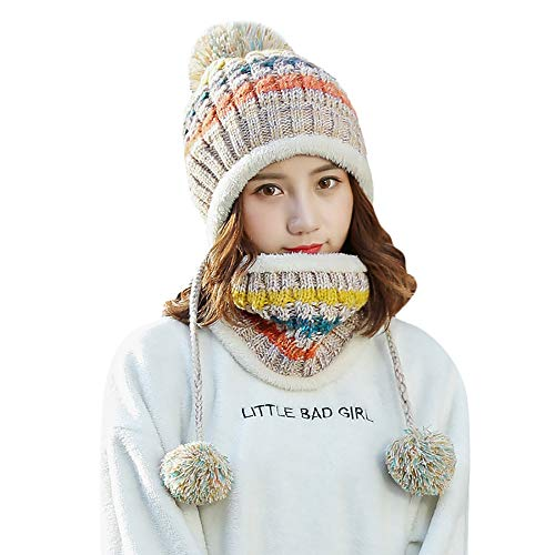 Price comparison product image Beautyfine Fashion Fleece Knit Hat Women Beanie and Scarf Set Girl Winter Lined Ski Hat with Earflap Pompom