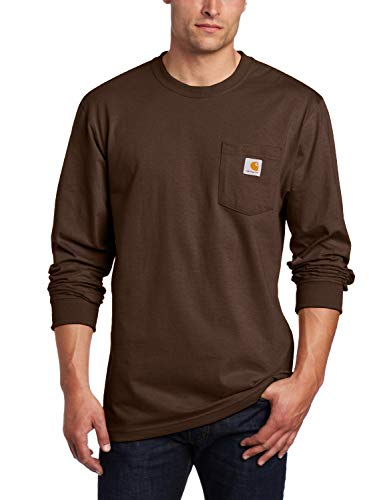 Carhartt Men's Big K126 Workwear Jersey Pocket Long-Sleeve Shirt (Regular and Big & Tall Sizes), Dark Brown, 3X-Large Tall (Big Shirt Mountain)