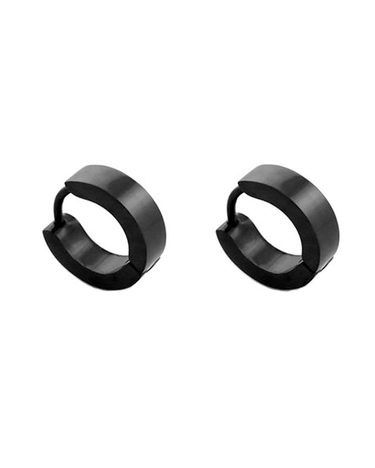 Amazon: Black Men Unisex Huggie Earrings In Stainless Steel: Hoop  Earrings: Jewelry