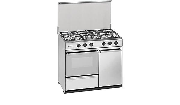 Meireles G 2950 DV - Cocina portabombonas de 90x60cm con 5 quemadores a gas y horno a gas preparada para gás butano/propano, blanco: 408.21: Amazon.es: ...