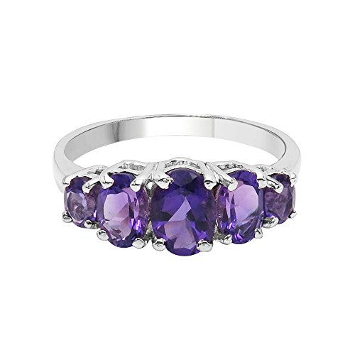 (Natural Oval Shape Amethyst Multi Stone Ring Solid .925 Sterling Silver For Women Girls (Size-7))