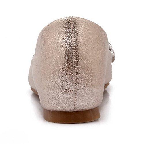 AllhqFashion Damen Weiches Material Niedriger Absatz Ziehen auf Eingelegt Flache Schuhe Golden