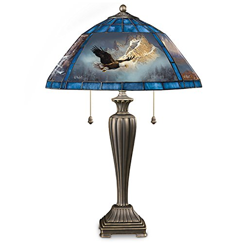 American Glass Tabletops - Ted Blaylock Eagle Art Stained Glass Lamp Bronze Finish Base by The Bradford Exchange