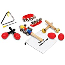 Kenley Musical Instruments for Kids - Percussion & Rhythm Maracas Band Play Music Toys for Baby Children & Toddlers - Set of 10