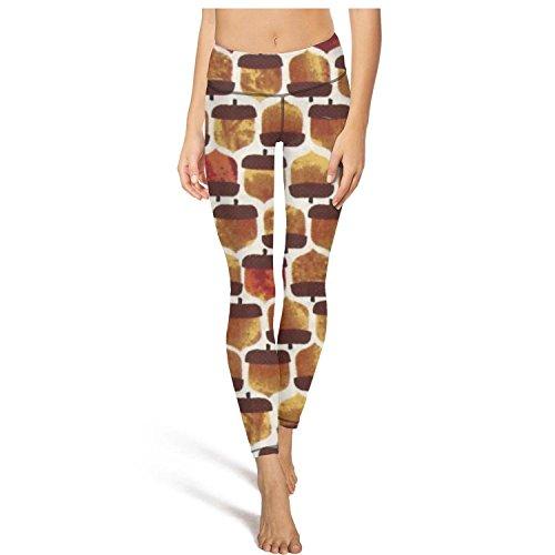 (Mackiintion Women's Autumn Acorn Yoga Pants Sports Workout Leggings Tight Running Pants)
