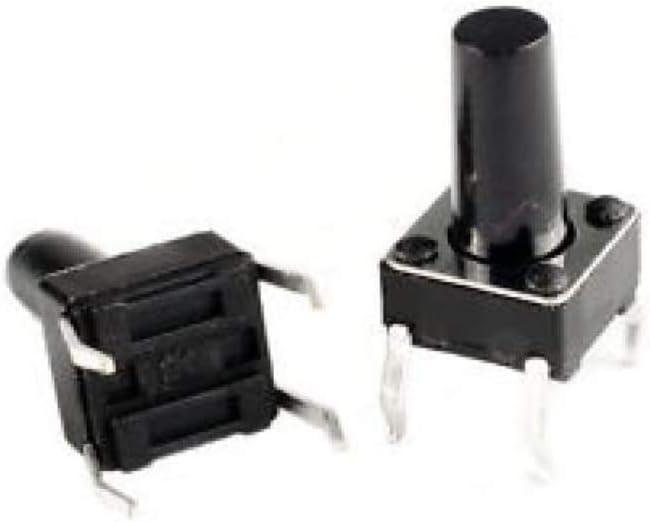 10x Micro mini pulsante 6x6mm altezza 8mm per circuito stampato pcb 12V