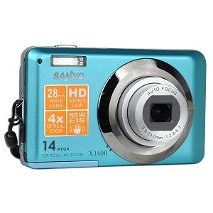 Blue Sanyo VPC-X1400 14mp Digital Camera with Wide Angle 4x Optical Zoom