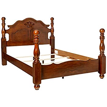 Image of 247SHOPATHOME Poster bed, Queen, Walnut Home and Kitchen