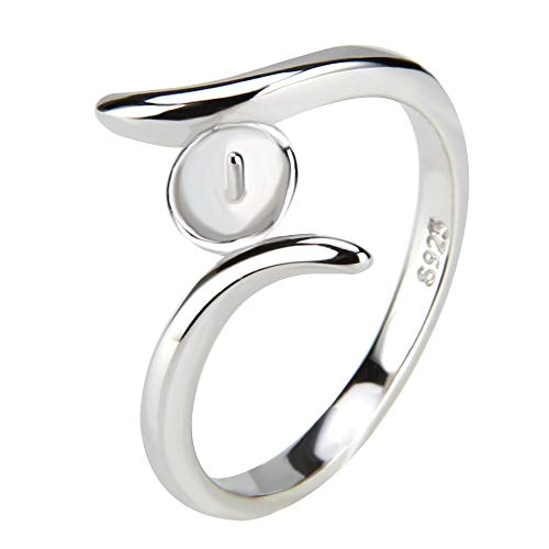 - NY Jewelry 925 Sterling Silver by-Pass Design Rings for Pearl, Pearl Ring Fittings/Accessories/Mountings for Women Pearl Jewelry Making in Size 6/7/8/9/10