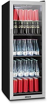 Klarstein Beersafe 6XLminibar minikoelkast drankenkoelkast 201 liter volume laag geluidsniveau 5 planken panoramische glazen ramen LEDverlichting zwartzilver