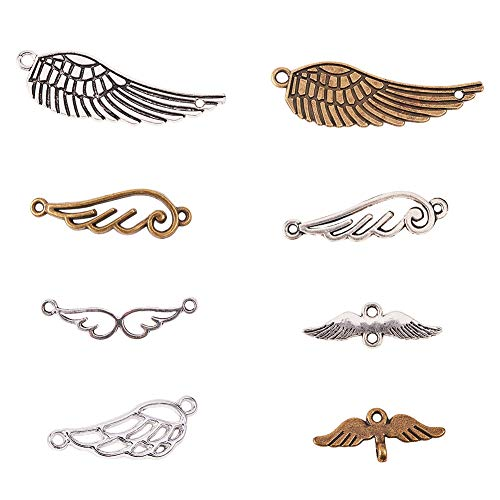 PandaHall Elite 40 pcs 8 Styles 3 Colors Tibetan Style Alloy Feather Angel Wings Charms Pendants Bird Wing Love Eagle Wing Metal Link for Bracelet Necklace Jewelry Making ()