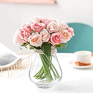Greentime Artificial Flowers, Artificial Roses 9 Heads Fake Flowers Silk Bridal Wedding Bouquet for Home Garden Party Wedding Decoration 21