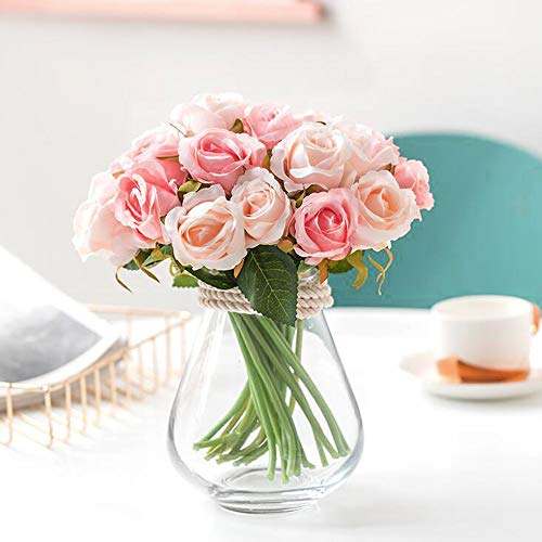 Greentime Artificial Flowers, Artificial Roses 9 Heads Fake Flowers Silk Bridal Wedding Bouquet for Home Garden Party Wedding Decoration