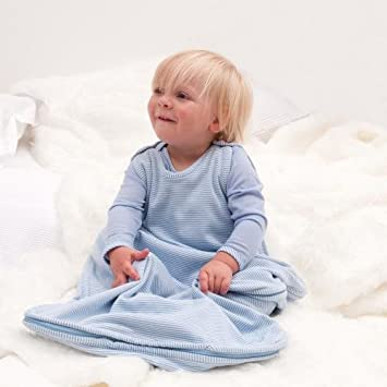 Bambino Merino Baby Sleeping Bag Sky Blue White Stripes