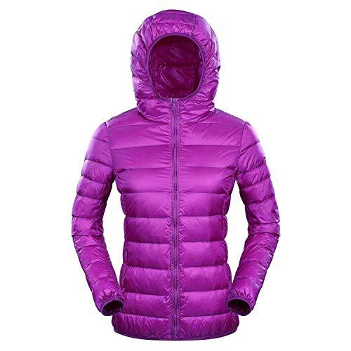 (Down Jacket Women Hooded Light Down Jacket Women Feather Winter Thin Warm Windbreaker Coats,Purple,M)