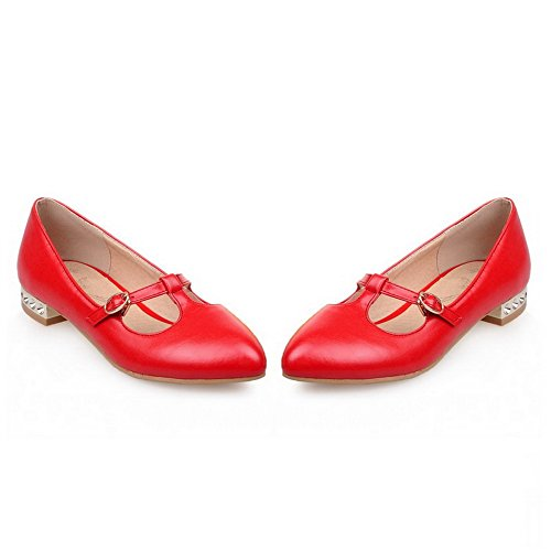 BalaMasa Ladies Buckle Pointed-Toe Solid Urethane Flats Shoes Red BZ7QmU