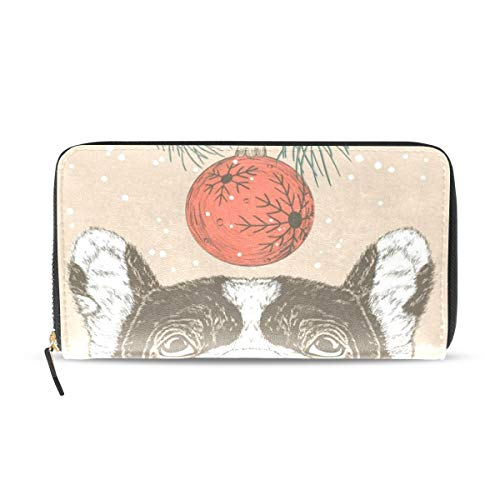 Womens Wallets Christmas French Bulldog Leather Passport Wallet Change Purse Zip Handbags (French Leather Purse Personalized)