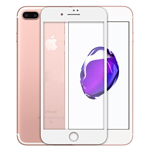iPhone 7 Plus Screen Protector,ASLING 3D Tempered Glass Screen Protector with Full Coverage Ultra HD Clear Anti-Bubble Scratch Proof Military Grade Screen Cover (iPhone 7 Plus White)