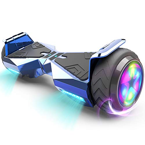 HOVERSTAR Hoverboard HS 2.0v Chrome Color Flash Wheel with LED Light Self Balancing Wheel Electric Scooter (Chrome Black)