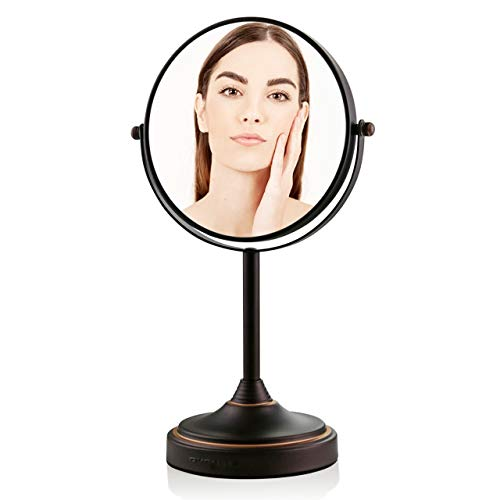 OVENTE Tabletop Makeup Mirror, 7 Inch, Dual-Sided 1x/7x Magnification, Antique Bronze -