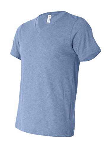 - Bella 3415 Unisex Triblend Short Sleeve V-Neck Tee - Blue Triblend, Large