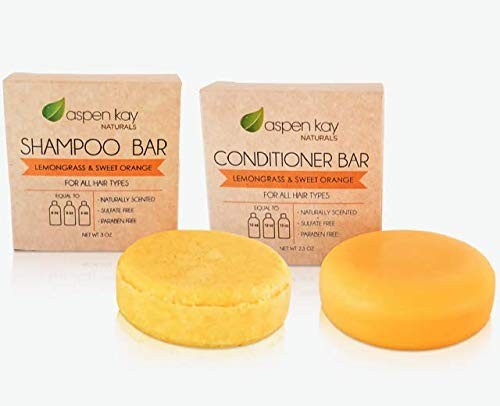 Solid Shampoo and Conditioner bar set, Organic Ingredients, All Hair Types, Sulfate-Free, Cruelty-Free & Vegan. One 3 ounce and one 2.3 ounce bars (Citrus)