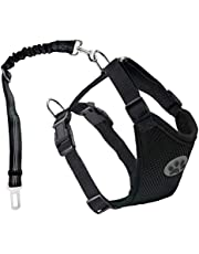 Dog Seatbelt Dog Car Harness with Pet Harness Double Breathable Mesh Fabric Vest,Adjustable Pet Seatbelt,Car Vehicle Connector Strap for Dogs and Seatbelt Extenders for Cars