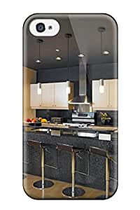 New Fashion Premium Tpu Case Cover For Iphone 4/4s - Black Contemporary Kitchen With Counter Seating