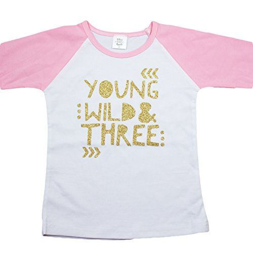 Young Girl (3rd Birthday Shirt for Girls Young Wild & Three Pink Raglan 3/4 sleeve,3T,Pink)