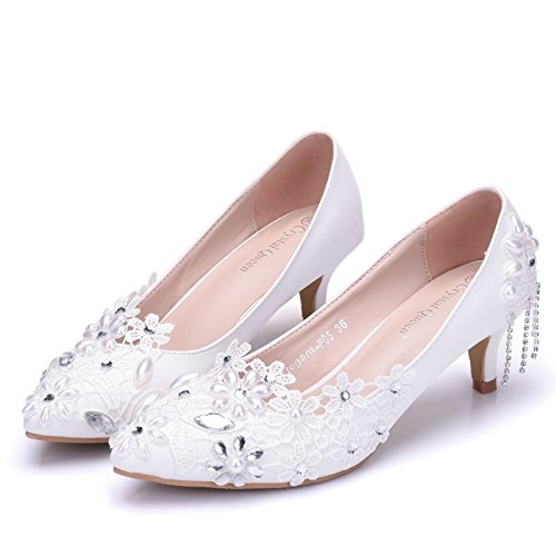 5 Lace White Shoes Shoes Thin cm Shoes LEIT Women's Tassel Beaded Wedding White PUaq0I