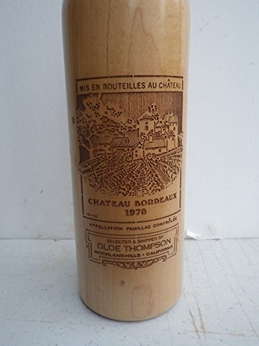 OLDE THOMPSON Oak Wood WINE BOTTLE Tall PEPPER MILL GRINDER Chateau Bordeaux