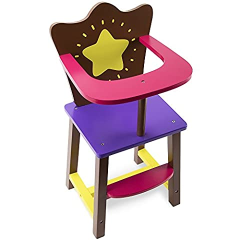 Star Bright Colorful Doll High Chair, Fits 18