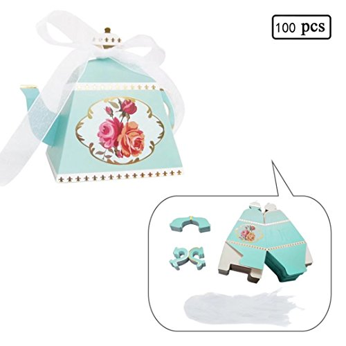 E-Goal 100PCS/Pack Mini Teapot Shape Wedding Favors Candy Boxes Gift Box Party Favor Boxes with Ribbons for Wedding, Party Decorations, (Tea Party Ribbons)