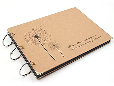 Farway DIY Photo Album Anniversary 10 x 7 inches Scrapbook Album with Black Pages for Our Love Story Family Friends Memory Vintage Scrapbooking - Wood Photo Album Book