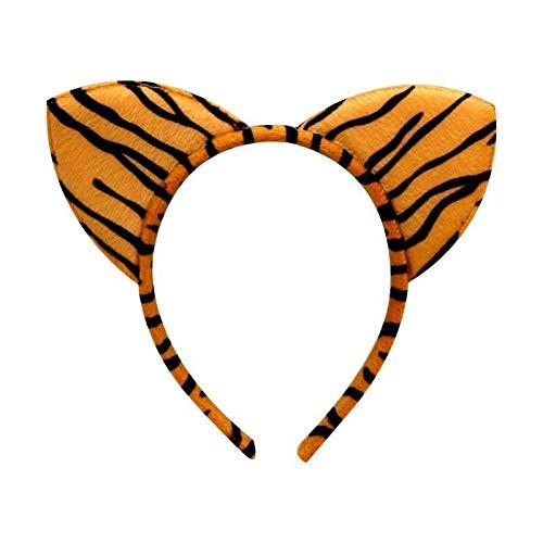 - Women Girl Plush Cloth Wrapped Headband Hair Hoop Cute Animal Cat Ears Headwear (Color - 1# Tiger)