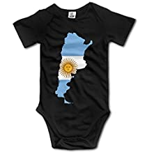 LopenD Argentina Flag Map Black Funny Short Sleeves Variety Baby Onesies Creeper Girls Size 24 Months